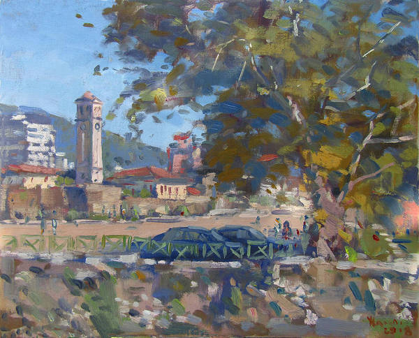 Clock Tower Painting - Bezistani Elbasan by Ylli Haruni