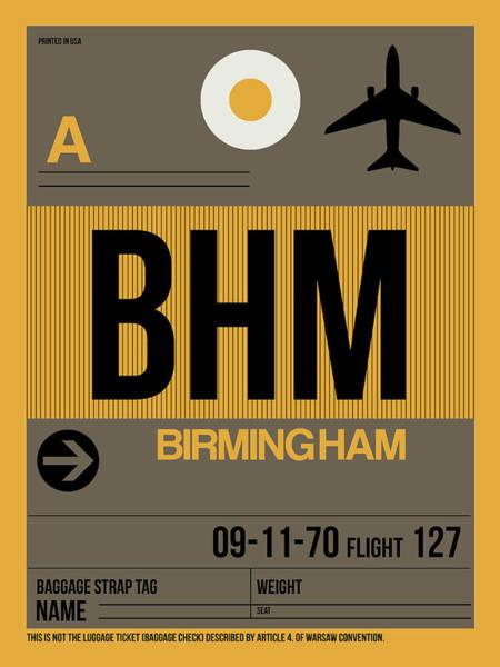 Travel Destination Wall Art - Digital Art - Bhm Birmingham Luggage Tag I by Naxart Studio