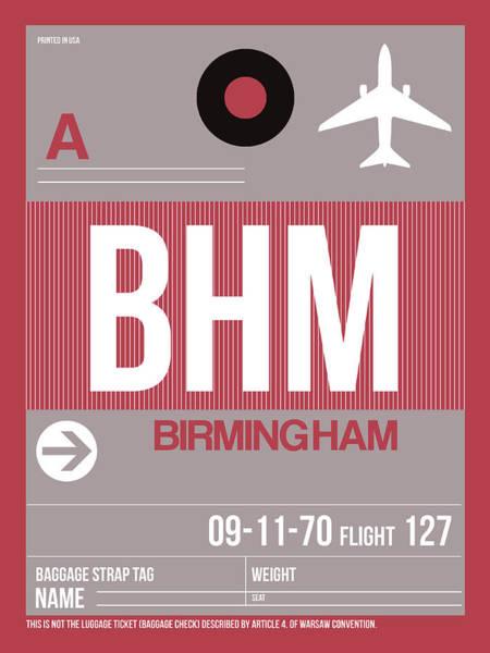 Travel Destination Wall Art - Digital Art - Bhm Birmingham Luggage Tag II by Naxart Studio