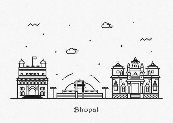 Landmark Center Drawing - Bhopal Cityscape Travel Poster by Inspirowl Design