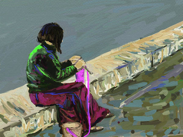 Knitting Digital Art - Bhutanese Woman Knitting by Uma Krishnamoorthy