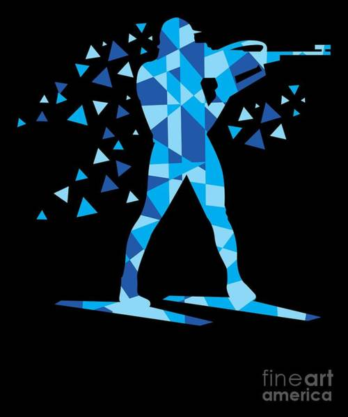 Riffle Digital Art - Biathlon Skiing Riffle Shooting Geo Holiday Gift  by Haselshirt