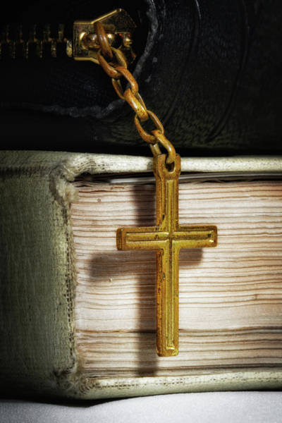 Bible Wall Art - Photograph - Bibles With Cross by Tom Mc Nemar