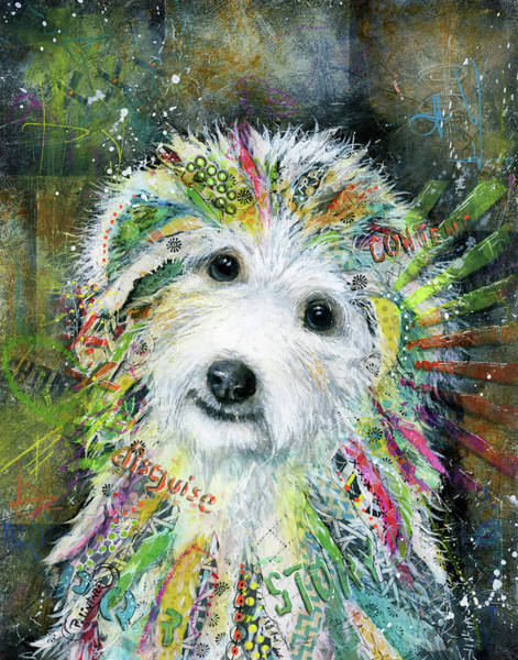 Wall Art - Mixed Media - Bichon Frise by Patricia Lintner