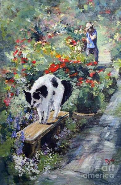 Painting - Bicolour Cat In Rose Garden by Ryn Shell