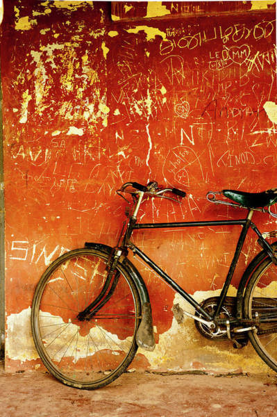 Karnataka Photograph - Bicycle Against A Wall by Arti Agarwal