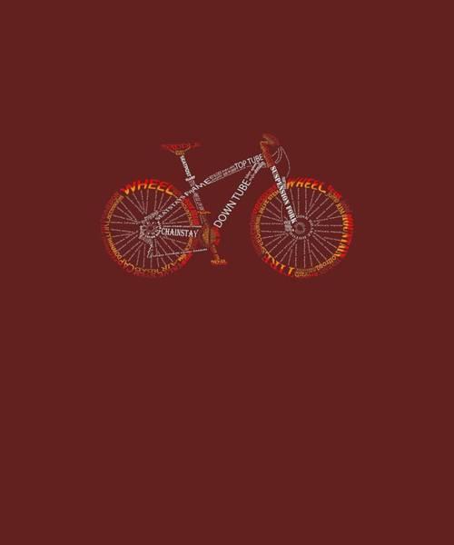 Wall Art - Digital Art - Bicycle Amazing Anatomy Tshirt - Mountain Bike Fire Red by Unique Tees