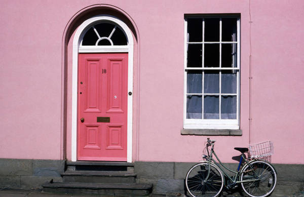 Bicycle Photograph - Bicycle Leaning Against Pink House by David Tomlinson