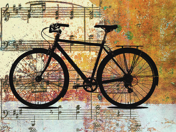 Wall Art - Mixed Media - Bicycle Music by Nancy Merkle
