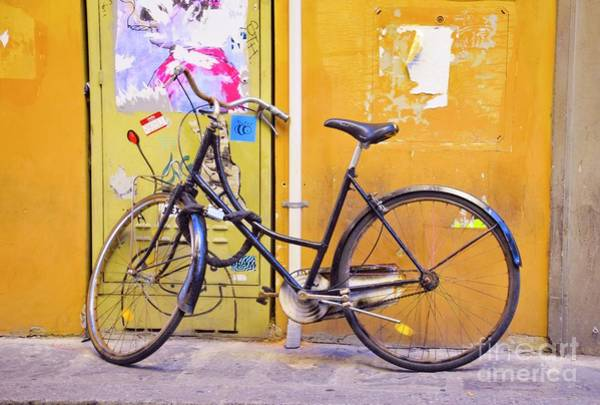 Photograph - Bicycle On Yellow - Rome by Mary Machare