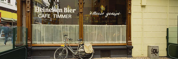 Wall Art - Photograph - Bicycle Outside A Cafeteria, Rotterdam by Panoramic Images