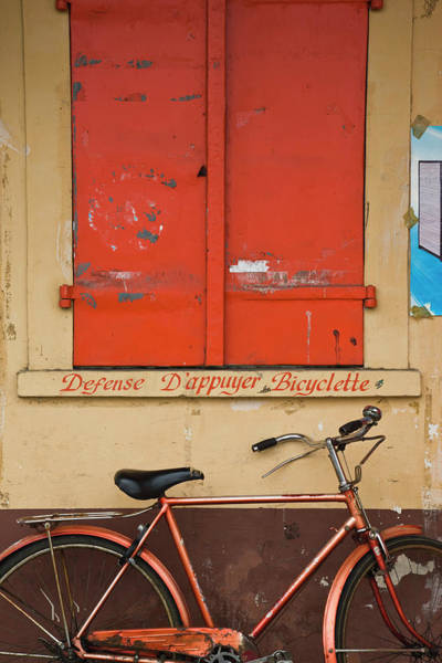 Bicycle Photograph - Bicycle Parking Sign With Bicycle by Danita Delimont