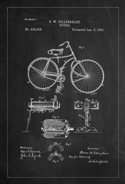 Digital Art - Bicycle Patent Drawing From 1891 - Gray by Carlos Diaz