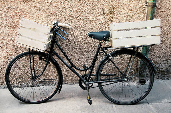 Improvement Photograph - Bicycle With Empty Wooden Boxes, Front by Paolo Negri