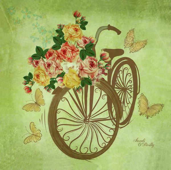 Wall Art - Digital Art - Bicycle With Flower Basket by Sandi OReilly