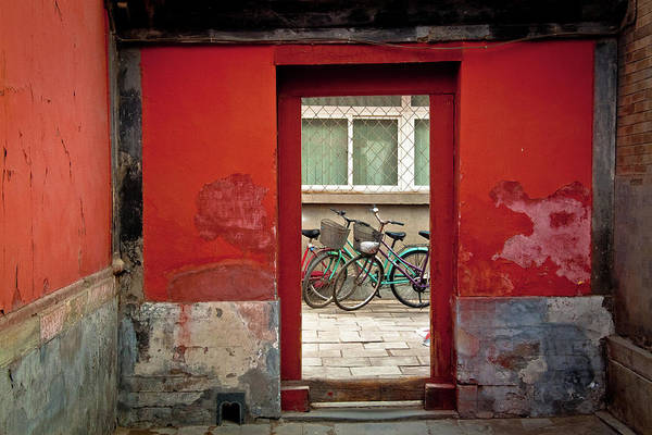 Chinese Culture Photograph - Bicycles In Red Doorway by Photo By Sharon Drummond