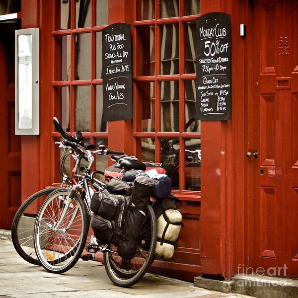 Wall Art - Photograph - Bicycles On The British Pub, Durham by Vividrange
