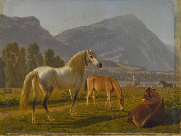 Wall Art - Painting - Biedermann, Johann Jakob 1763 Winterthur - 1830   Horses And Cattle On Pasture In Swiss Mountain Lan by Biedermann Johann Jakob