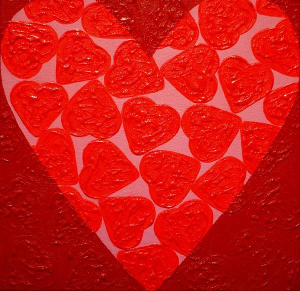 Wall Art - Painting - Big Abstract Heart  by John  Nolan