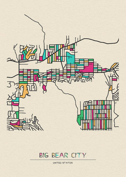 Wall Art - Drawing - Big Bear City, United States City Map by Inspirowl Design