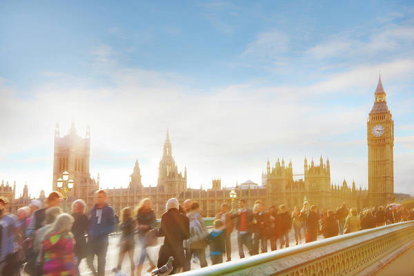 The Clock Tower Photograph - Big Ben And People Crossing Westminster by Juliet White