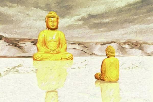 Esoteric Painting - Big Buddha, Little Buddha by Sarah Kirk