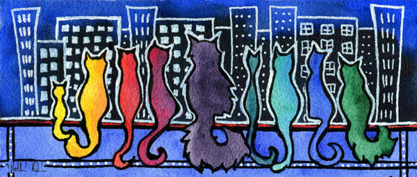 Painting - Big City Cats by Dora Hathazi Mendes
