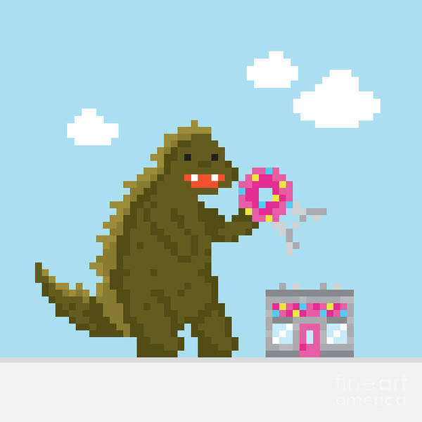 Wall Art - Digital Art - Big Dinosaur Attacking Donut Cafe by Dmitriylo
