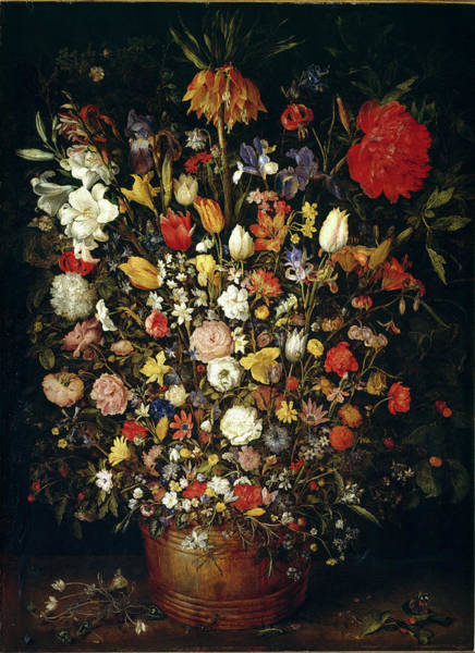 Painting - Big Flower Bouquet In A Wooden Vessel by Leemage