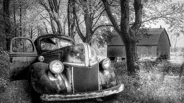 Photograph - Big Ford On The Farm Lane Black And White by Debra and Dave Vanderlaan