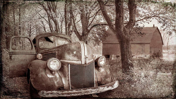 Photograph - Big Ford On The Farm Lane Old Time Sepia Tones by Debra and Dave Vanderlaan