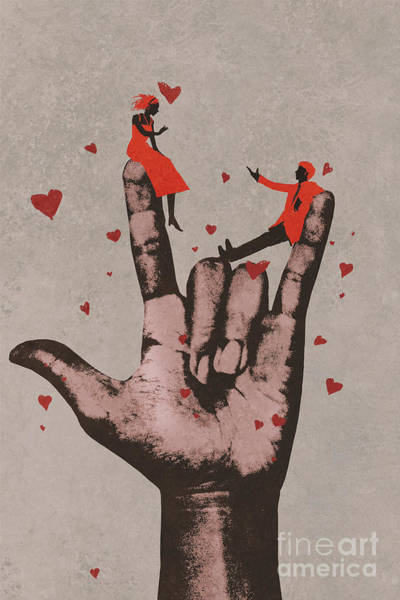 Oil Digital Art - Big Hand In I Love You Sign With by Tithi Luadthong