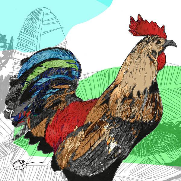 Digital Art - Big Island Rooster 2 by Lucas Boyd