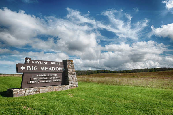 Photograph - Big Meadows Skyline Drive Sign by Lara Ellis