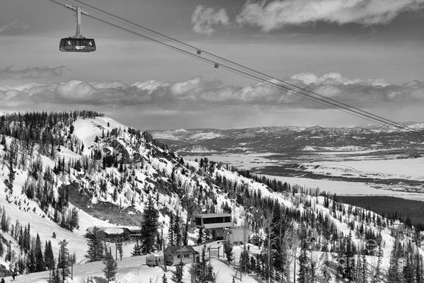 Photograph - Big Red In The Skies Over Jackson Hole Black And White by Adam Jewell