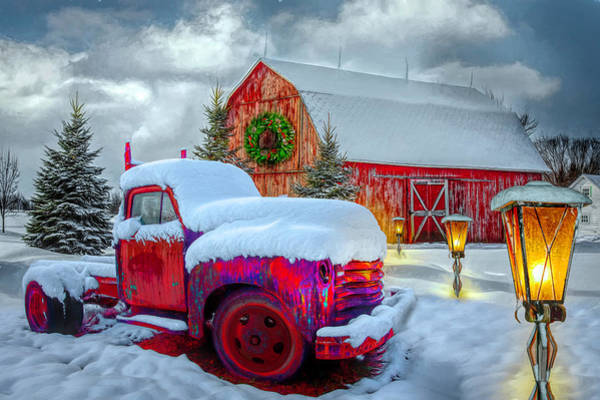 Photograph - Big Red In Winter Painting by Debra and Dave Vanderlaan
