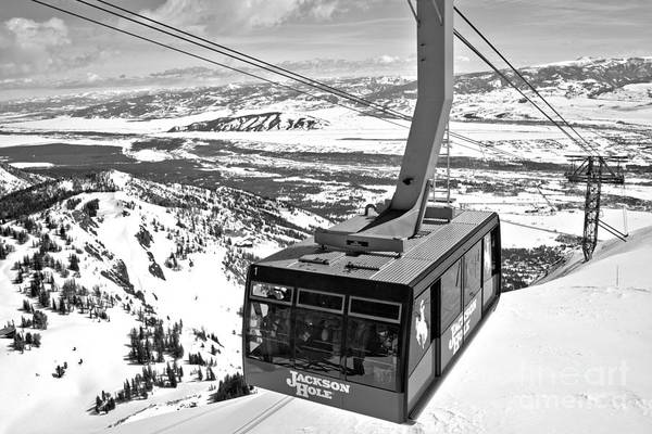 Photograph - Big Red Jackson Hole Tram Black And White by Adam Jewell