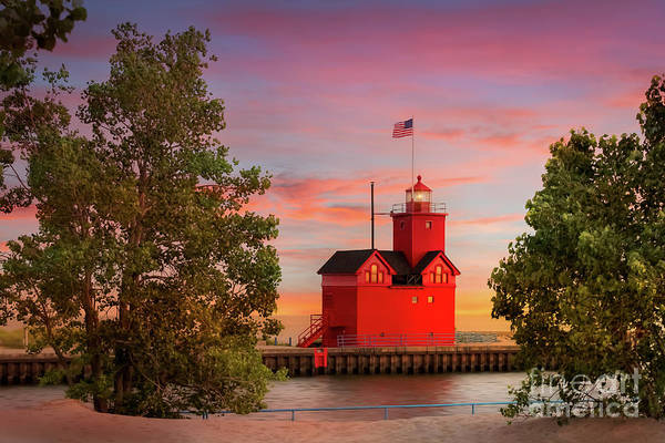 Holland State Park Photograph - Big Red Lighthouse In Holland, Michigan by Liesl Walsh