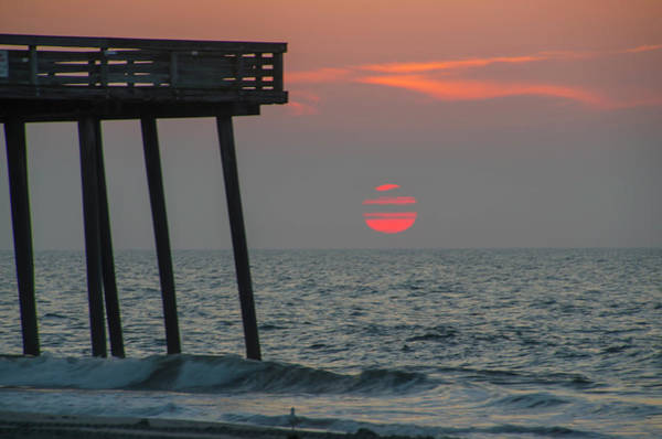 Photograph - Big Red Sunrise At The 14th Street Pier - Ocean City New Jersey by Bill Cannon