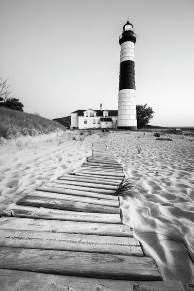Photograph - Big Sable Point Lighthouse Black And White by Adam Romanowicz