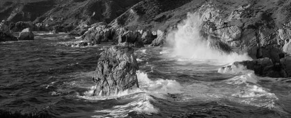 Wall Art - Photograph - Big Sur Panorama B W by Steve Gadomski