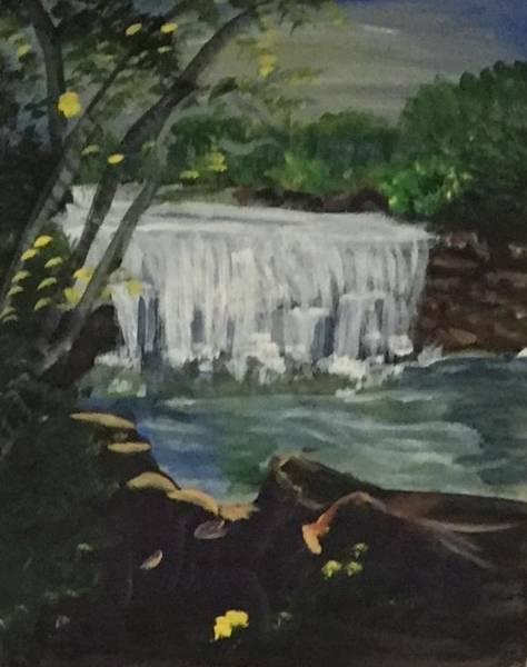 Wall Art - Painting - Big Waterfall by Julie Thomas-Zucker