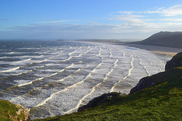 Wave Photograph - Big Waves At Rhossili Beach by Photo By Andrew Boxall