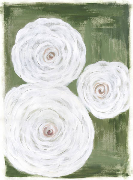 Wall Art - Painting - Big White Flowers I by Cindy Shamp