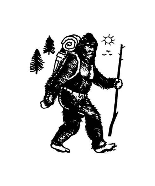 Cajal Wall Art - Digital Art - Bigfoot Camping Sasquatch Hiking Hiker Appalachian Trail Womens Mens Kids Mountain Saying Kayak Scie by Ben Tarenorerer