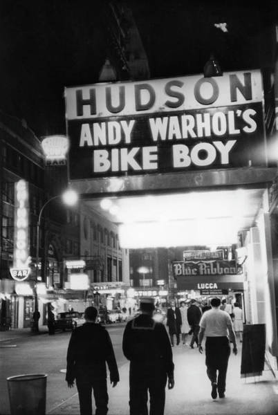 Warhol Photograph - Bike Boy At The Hudson Theatre by Fred W. McDarrah