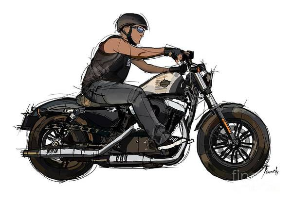Wall Art - Drawing - Biker And His Motorcycle. Original Handmade Artwork For Tshirts And Pillows by Drawspots Illustrations