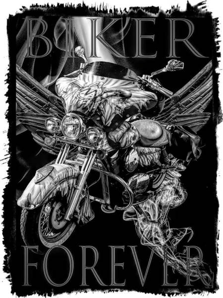 Digital Art - Biker Forever Bordered Black And White by Debra and Dave Vanderlaan