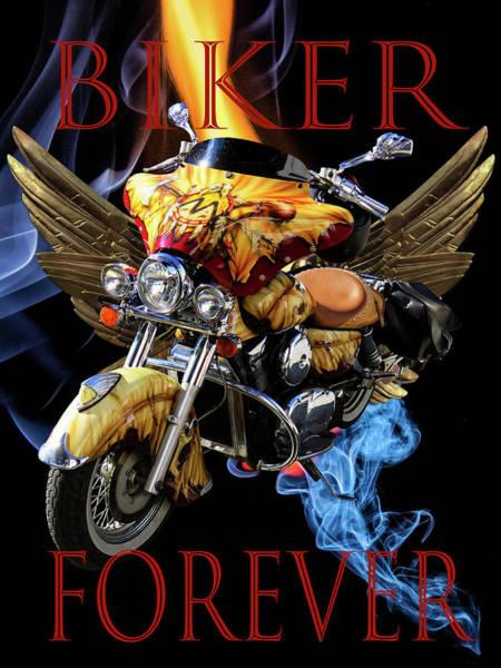 Digital Art - Biker Forever by Debra and Dave Vanderlaan