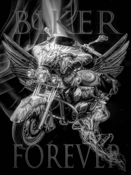 Digital Art - Biker Forever In Black And White by Debra and Dave Vanderlaan